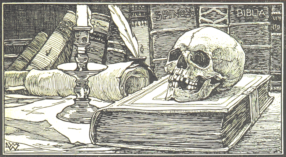 Old engraving of a skull sitting on top of a leather-bound book