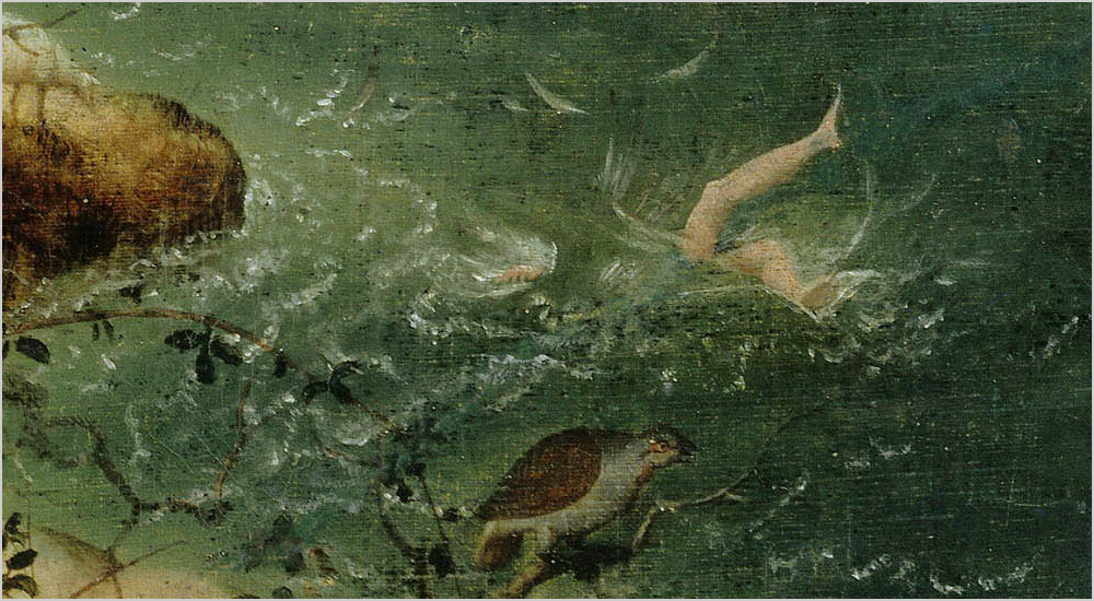 Detail of BRueghel's Landscape with the Fall of Icarus showing Icarus drowning