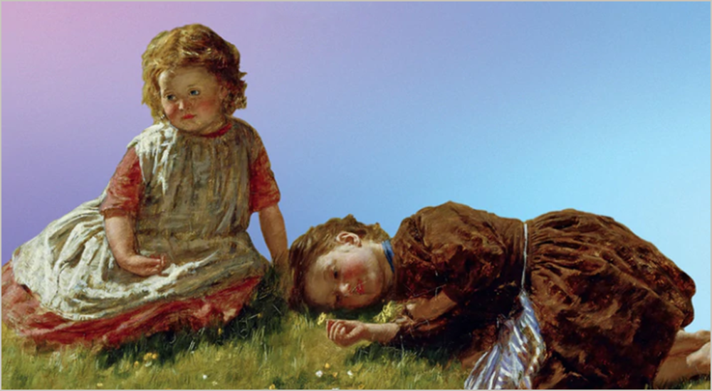 A painting of two girls in nostalgic frocks lying on the grass looking bored