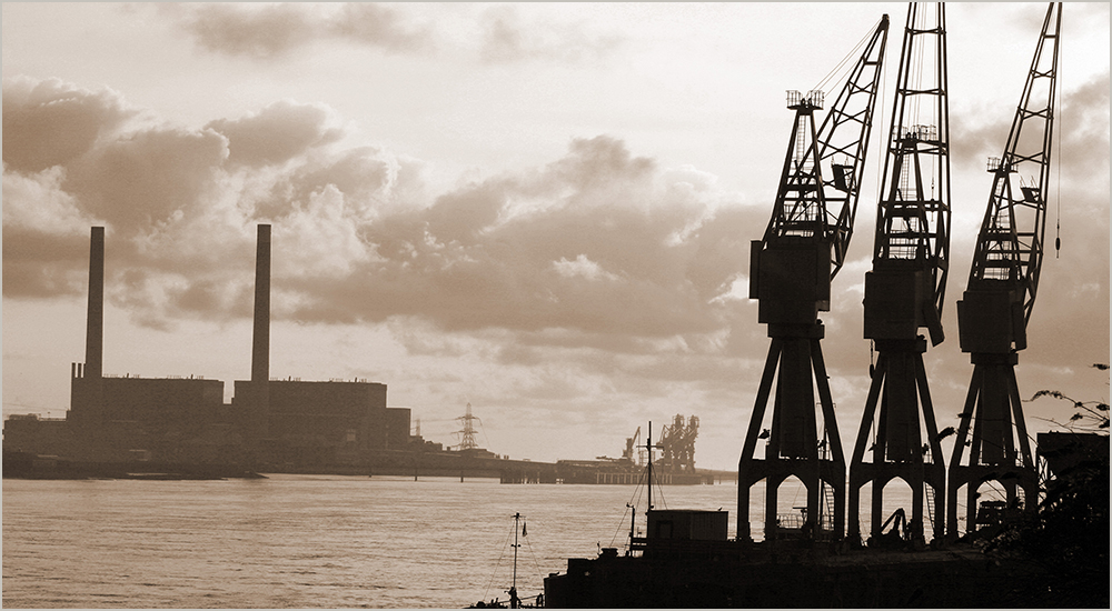 Cranes at Imperial Wharf, Gravesend, by Glen