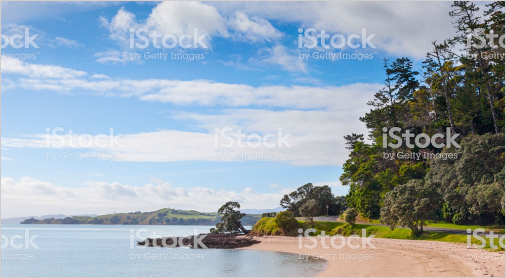 A stock photo of a New Zealand beach including the watermark